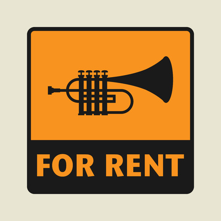 clarinet player: For Rent icon or sign, vector illustration