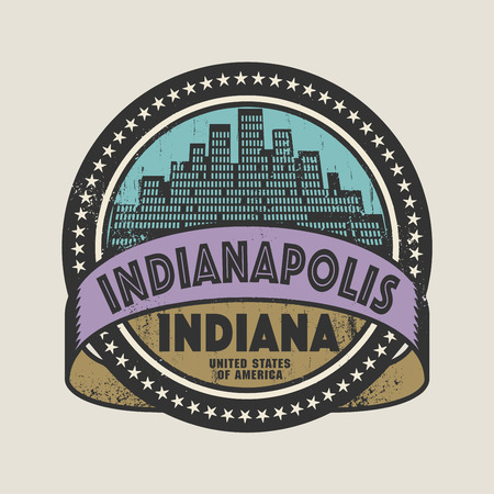 indianapolis: Grunge rubber stamp or label with name of Indianapolis, Indiana, vector illustration