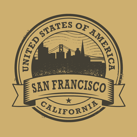 san francisco: Grunge rubber stamp or label with name of California, San Francisco, vector illustration Illustration