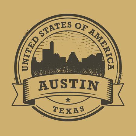austin: Grunge rubber stamp or label with name of Texas, Austin, vector illustration Illustration
