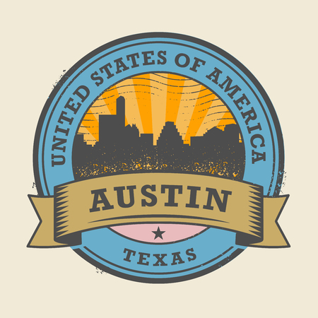Grunge rubber stamp or label with name of Texas, Austin, vector illustration Illustration