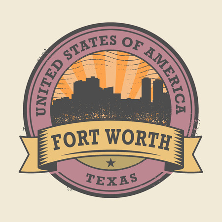 forth: Grunge rubber stamp or label with name of Forth Worth, Texas, vector illustration