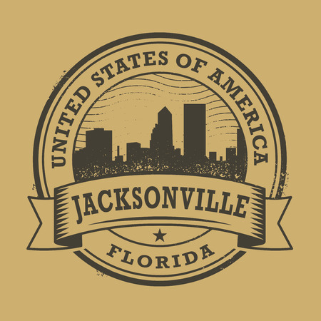 florida state: Grunge rubber stamp or label with name of Florida, Jacksonville, vector illustration