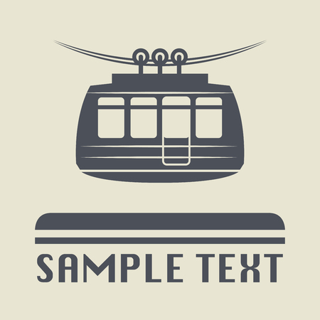 tramway: Cable car icon or sign, vector illustration