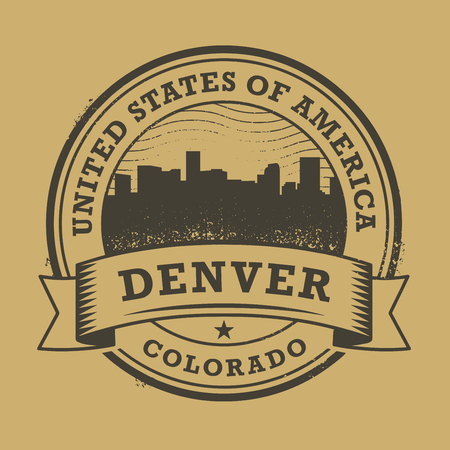 Денвер: Grunge rubber stamp or label with name of Colorado, Denver, vector illustration