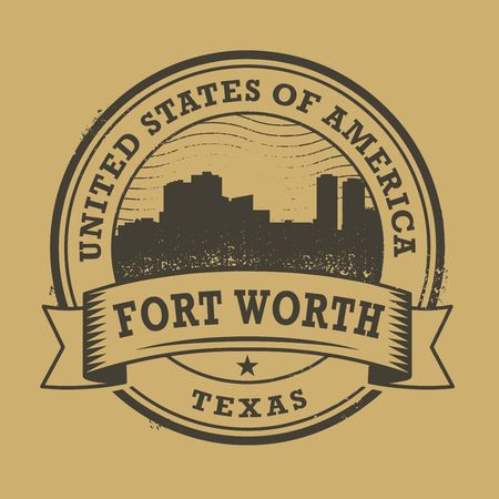 worth: Grunge rubber stamp or label with name of Forth Worth, Texas, vector illustration