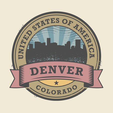 a word: Grunge rubber stamp or label with name of Colorado, Denver, vector illustration
