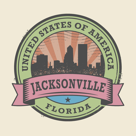 jacksonville: Grunge rubber stamp or label with name of Florida, Jacksonville, vector illustration