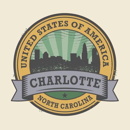 charlotte: Grunge rubber stamp or label with name of Charlotte, North Carolina, vector illustration Illustration
