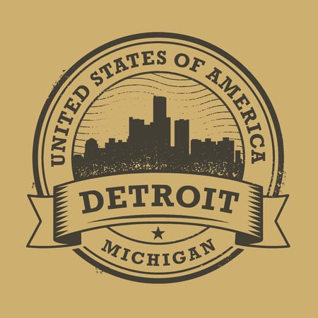detroit: Grunge rubber stamp or label with name of Detroit, Michigan, vector illustration