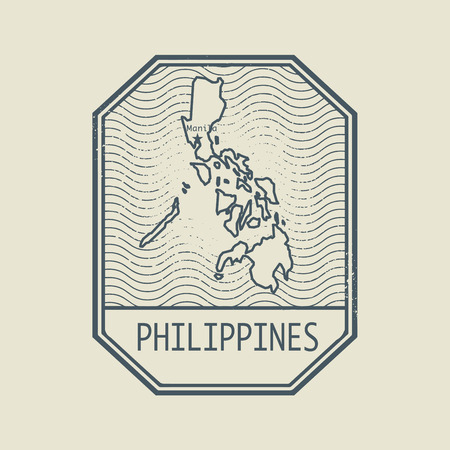 philippines: Stamp with the name and map of Philippines, vector illustration