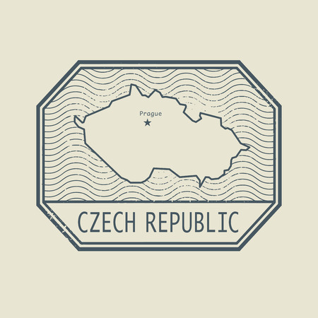 czech republic: Stamp with the name and map of Czech Republic, vector illustration