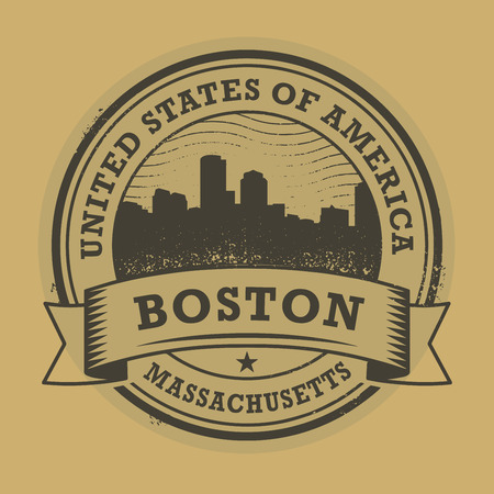 boston: Grunge rubber stamp or label with name of Boston, Massachusetts, vector illustration