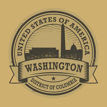 district of columbia: Grunge rubber stamp or label with name of Washington, District of Columbia, vector illustration Illustration