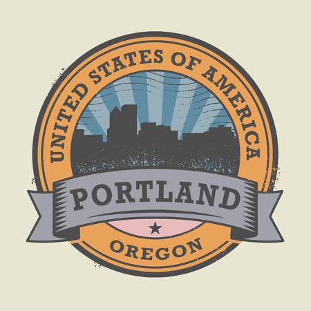 portland: Grunge rubber stamp or label with name of Oregon, Portland, vector illustration Illustration