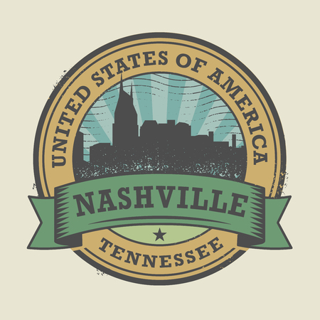 nashville: Grunge rubber stamp or label with name of Nashville, Tennessee, vector illustration