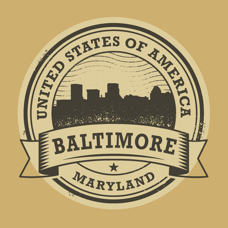 baltimore: Grunge rubber stamp or label with name of Maryland, Baltimore, vector illustration Illustration