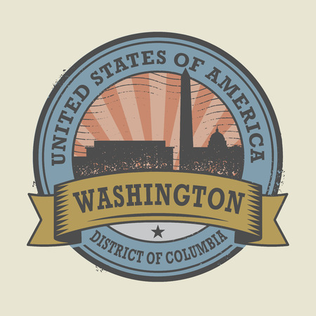 washington dc: Grunge rubber stamp or label with name of Washington, District of Columbia, vector illustration Illustration