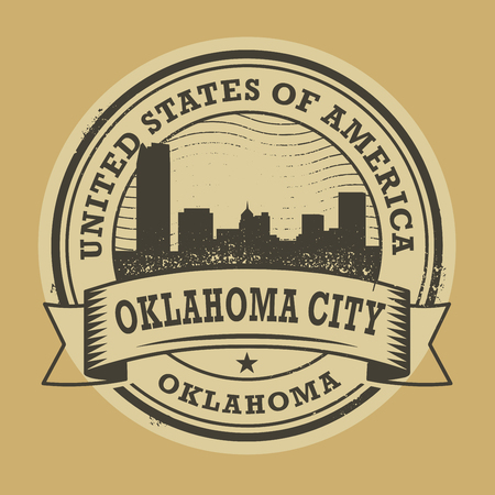 oklahoma: Grunge rubber stamp or label with name of Oklahoma, Oklahoma City, vector illustration