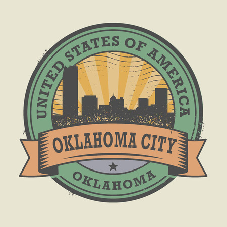 oklahoma city: Grunge rubber stamp or label with name of Oklahoma, Oklahoma City, vector illustration