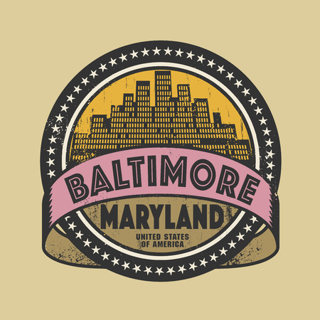 baltimore: Grunge rubber stamp or label with name of Baltimore, Maryland, vector illustration