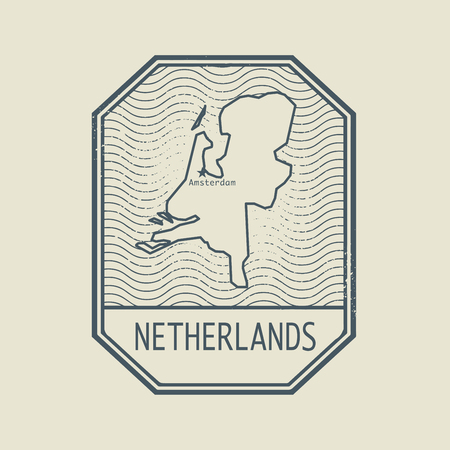 Stamp with the name and map of Netherlands, vector illustration Illustration