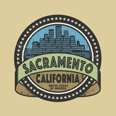 sacramento: Grunge rubber stamp or label with name of Sacramento, California, vector illustration Illustration