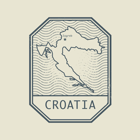 stamp passport: Stamp with the name and map of Croatia, vector illustration