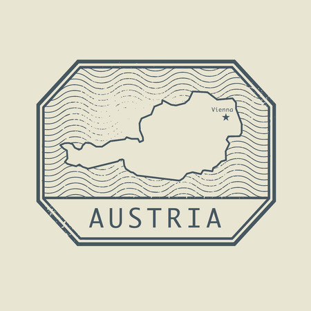 austria: Stamp with the name and map of Austria, vector illustration