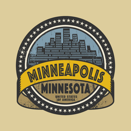 minnesota: Grunge rubber stamp or label with name of Minneapolis, Minnesota, vector illustration Illustration