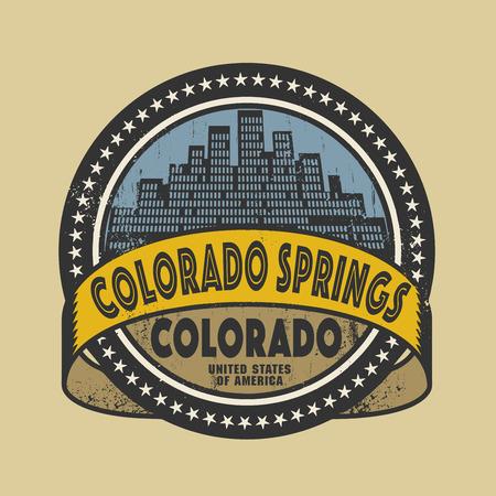 colorado springs: Grunge rubber stamp or label with name of Colorado Springs, Colorado, vector illustration Illustration