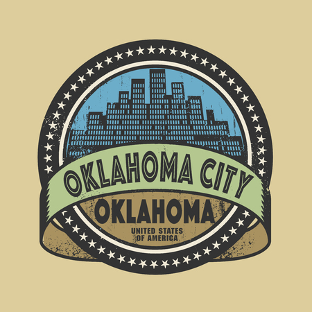 oklahoma: Grunge rubber stamp or label with name of Oklahoma City, Oklahoma, vector illustration