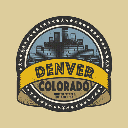 Денвер: Grunge rubber stamp or label with name of Denver, Colorado, vector illustration