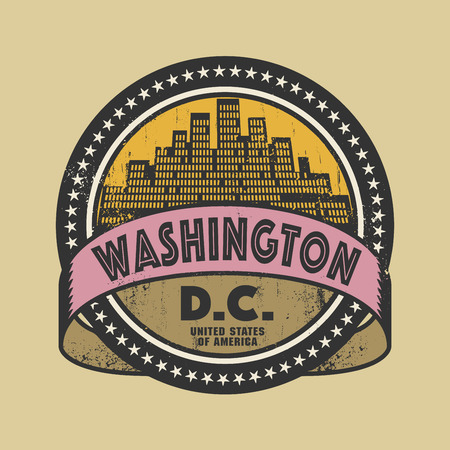 washington dc: Grunge rubber stamp or label with name of Washington, D.C., vector illustration
