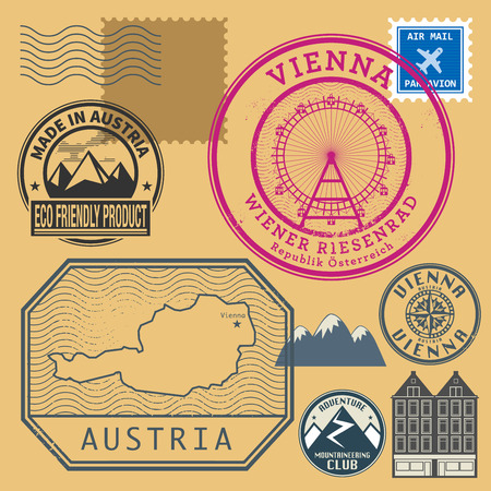 austria: Grunge rubber stamp set with words Vienna, Austria inside, vector illustration