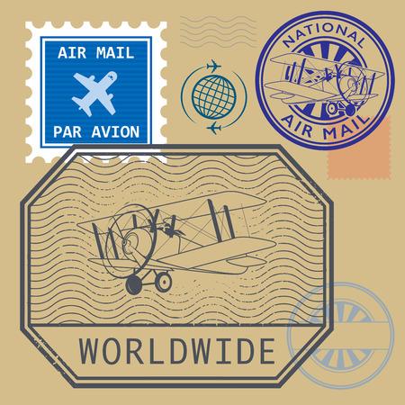 air mail: Set of air mail symbols, vector illustration Illustration