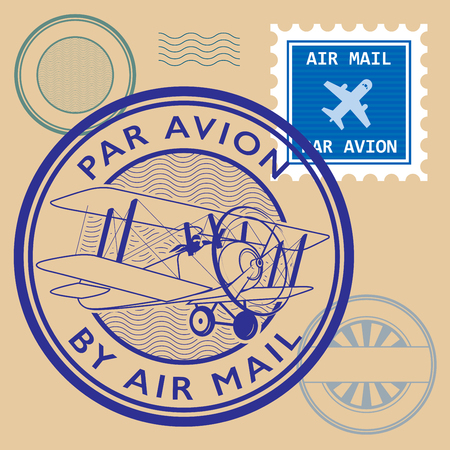air mail: Set of air mail symbols, vector illustration Illustration