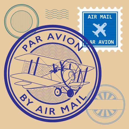 Set of air mail symbols, vector illustration Illustration