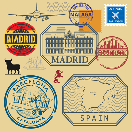 vintage stamp: Grunge rubber stamp set with the name and map of Spain, vector illustration Illustration