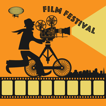 film projector: Abstract Film Festival poster, vector illustration