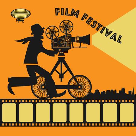 Abstrakt Film Festival plakát, vektorové ilustrace