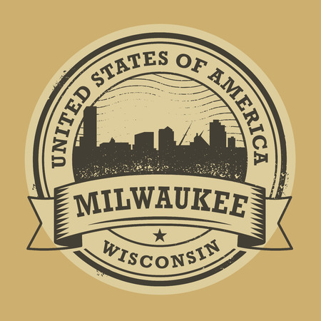 milwaukee: Grunge rubber stamp or label with name of Milwaukee, Wisconsin, vector illustration