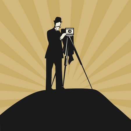 Vintage photographer with ancient camera, vector illustration