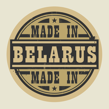 belorussian: Abstract stamp or label with text Made in Belarus, vector illustration