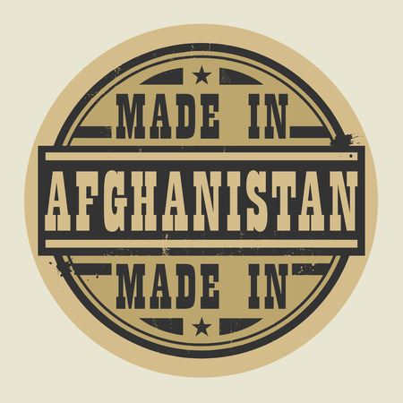 afghan: Abstract stamp or label with text Made in Afghanistan, vector illustration