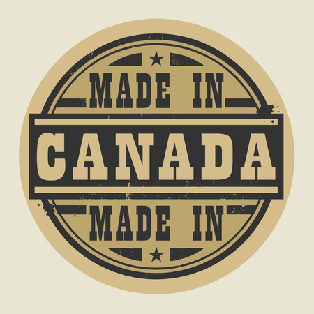 canada stamp: Abstract stamp or label with text Made in Canada, vector illustration
