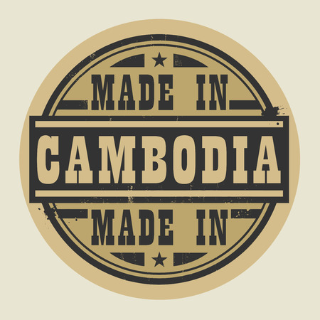 cambodian: Abstract stamp or label with text Made in Cambodia, vector illustration