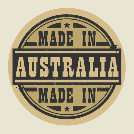 australia stamp: Abstract stamp or label with text Made in Australia, vector illustration Illustration