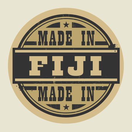 fiji: Abstract stamp or label with text Made in Fiji, vector illustration