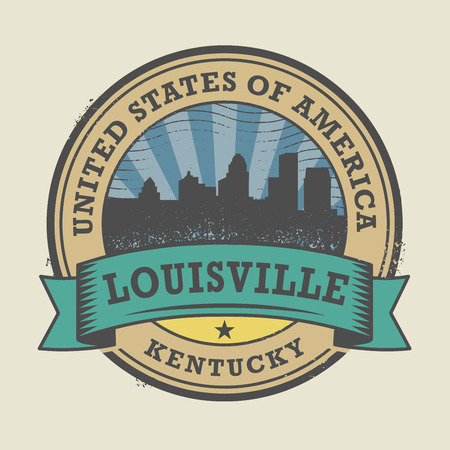 louisville: Grunge rubber stamp or label with name of Louisville, Kentucky, vector illustration